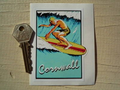 "Cornwall Surfer Sticker. 2.5""."