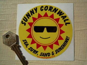 "Sunny Cornwall Sea, Surf, Sand & Sunshine Sticker. 3.75""."