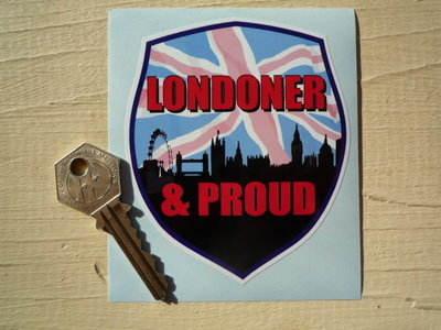 """Londoner & Proud Skyline Shield Sticker. 4""""."""