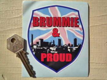 """Brummie & Proud Skyline Shield Sticker. 3.25""""."""
