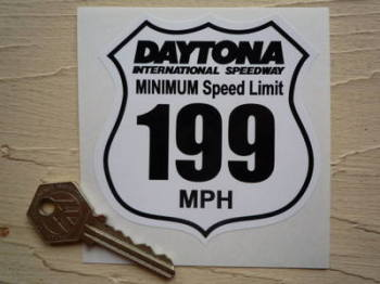 "Daytona International Speedway  Minimum Speed Limi 199Mph Joke Sticker. 3.5""."