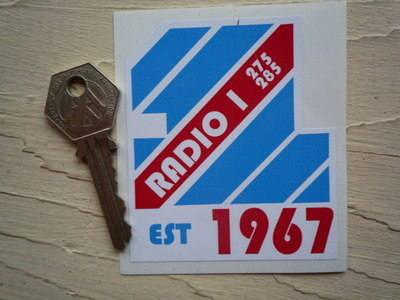 """Radio 1 One Est 1967 Sticker. 3""""."""