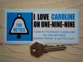 """Radio Caroline On One-Nine-Nine 1960's Pirate Radio Sticker. 5""""."""