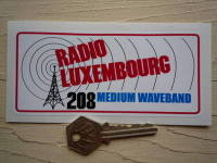 "Radio Luxembourg Later Mast Style Pirate Radio Sticker. 5""."