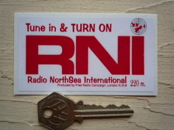 "Radio RNI NorthSea International Red & White Sticker. 3.5""."