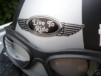 Live To Ride Winged Helmet Sticker. 3.5