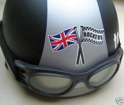 Union Jack & Rockers Crossed Flag Helmet Sticker. 3