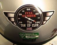Ton Up Club Full Member Helmet Sticker. 4
