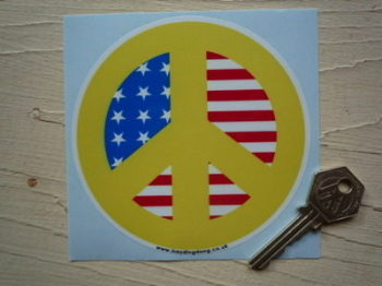 "Ban The Bomb Peace USA Sticker. 4"" or 8""."