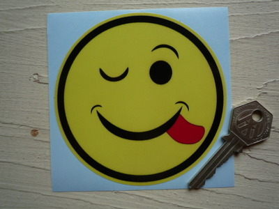 "Smiley Face Cheeky Winker Sticker. 4""."