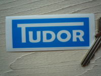 "Tudor Windscreen Washer Blue Sticker. 3.25""."
