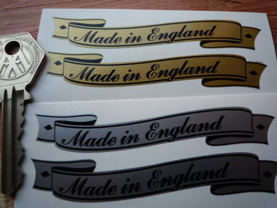"Made in England  Scroll Stickers. 3"" Pair."