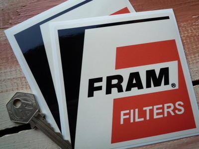 """Fram Filters Cream 'F' Stickers. 4"""" Pair."""