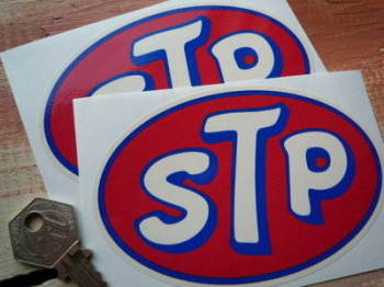 "STP Cream Oval Stickers. 5"" Pair."