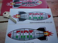 "Fiat Shaped Torpedo Stickers. 6"" Pair."