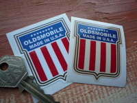 "Oldsmobile Made In U.S.A Shield Stickers. 2"" Pair."