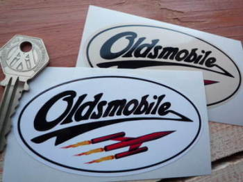 "Oldsmobile Oval Stickers. 4"" Pair."