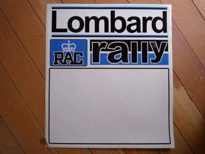 "Lombard RAC Rally Blue & Black Door Panel Stickers. 20"" Pair."