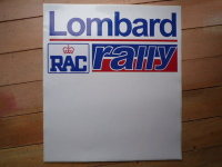 """Lombard RAC Rally Red & Blue Door Panel Stickers. 20"""" Pair."""