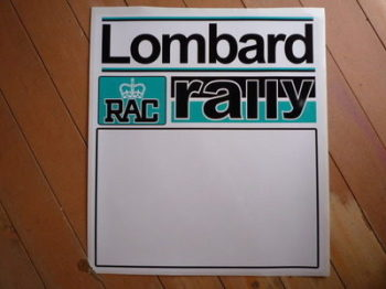 "Lombard RAC Rally Turquoise Blue Door Panel Stickers. 20"" Pair."