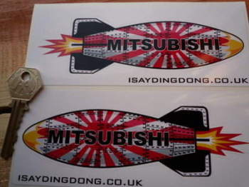 "Mitsubishi Shaped Torpedo Stickers. 6"" Pair."