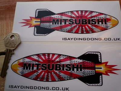 "Mitsubishi Shaped Torpedo Stickers. 6"" Pair."