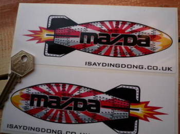 "Mazda Shaped Torpedo Stickers. 6"" Pair."