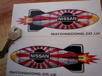 "Nissan Shaped Torpedo Stickers. 6"" Pair."