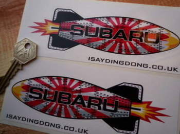 "Subaru Shaped Torpedo Stickers. 6"" Pair."