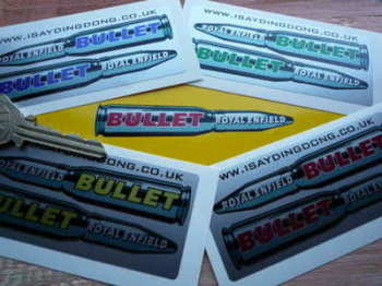 "Royal Enfield Bullet Shaped Stickers. 3.5"" Pair."
