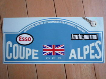 "Coupe Des Alpes. Esso. L'auto-journal. Rally Plate Sticker. 16""."