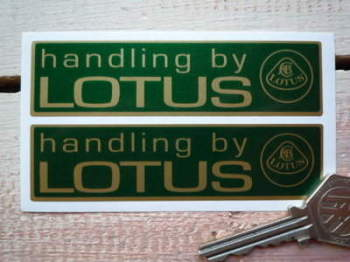 "Handling By Lotus Gold & Green Stickers. 4"" Pair."