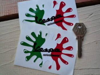 "Vespa Naturalmentel Splat Stickers. 4"" Pair."