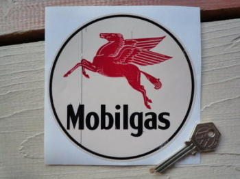 "Mobil gas Circular Worn Look Sticker. 5""."