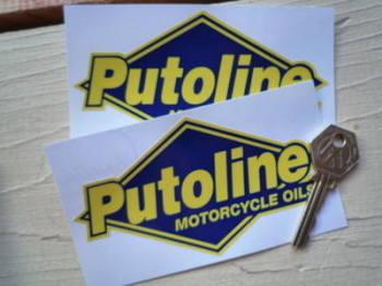 "Putoline Motorcycle Oils Blue & Yellow Diamond Stickers. 5"" Pair."
