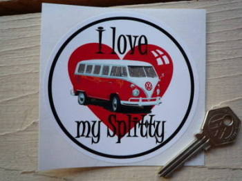 "I Love My Splitty Volkswagen Camper Sticker. 4""."