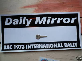 "Daily Mirror RAC Rally 1973 Plate Sticker. 17""."