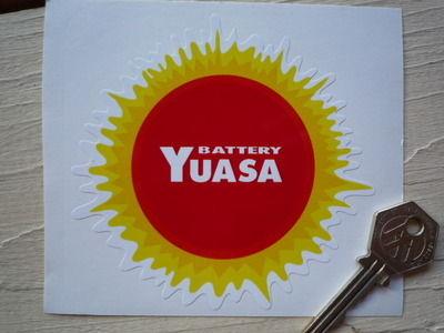 "Yuasa Battery Red & Yellow Classic 70's Sunburst Sticker. 4""."