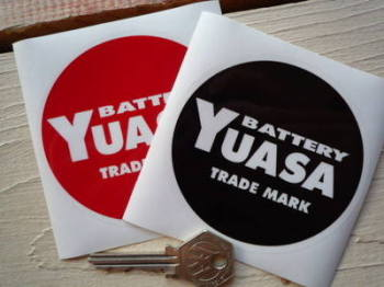 "Yuasa Circular Battery Label Sticker. 3.5""."