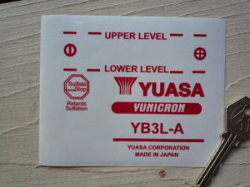 "Yuasa Yunicron Red Battery Label Sticker. 4""."