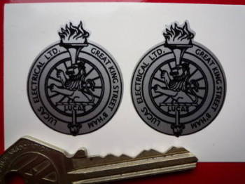 "Lucas Electrical Ltd. Birmingham Lion & Torch Stickers. 1.25"" Pair."