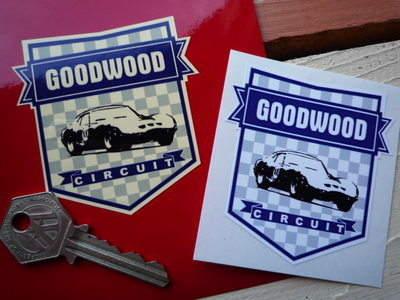 "Goodwood Circuit  Blue Shield Sticker. 2.5""."
