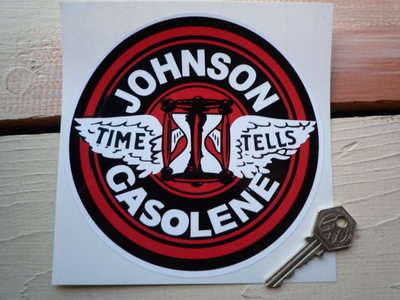 """Johnson Gasolene Circular Petrol Pump Sticker. 6"""" or 8.5""""."""