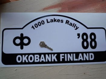 "Finland 1000 Lakes Oko Bank Finland 1988 Rally Plate Sticker. 18""."