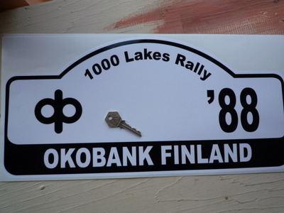 "Finland 1000 Lakes Oko Bank Finland 1988 Rally Plate Sticker. 18""."