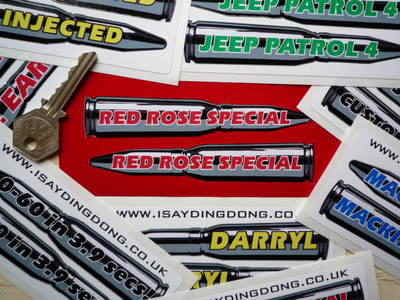 """PERSONALISED Bullet Shaped Stickers. 4.5"""" Pair."""