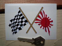 """Crossed Japanese Navy & Chequered Flag Sticker. 4""""."""