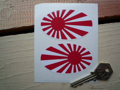 """Japanese Oval Navy Flag Stickers. 3"""" Pair."""