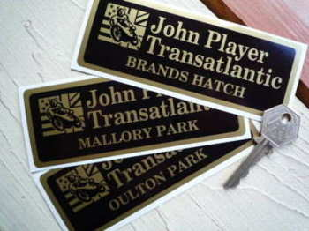 "John Player Transatlantic Circuit Sticker. 5.25""."