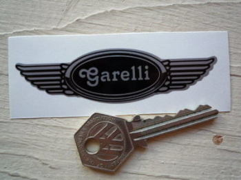 "Garelli Winged Helmet Sticker. 3.5""."